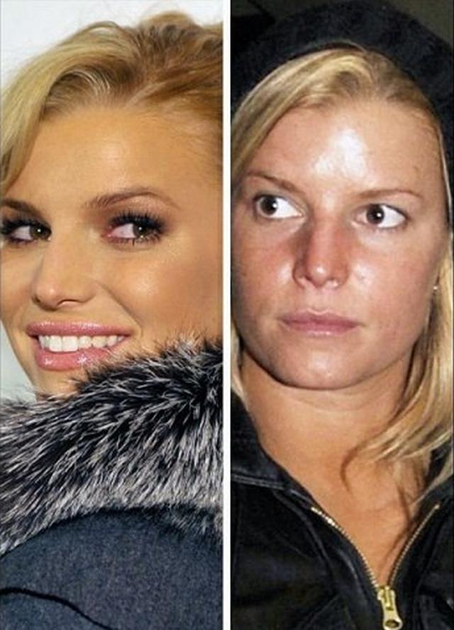 Снимки актрис с макияжем на лице и без него