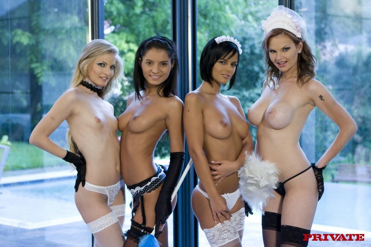 Четыре худые голые горничные