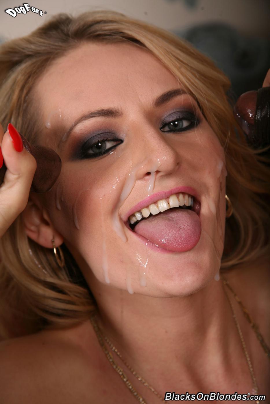 Черные члены награждают сексуальную блондинку Natasha Starr литрами спермы